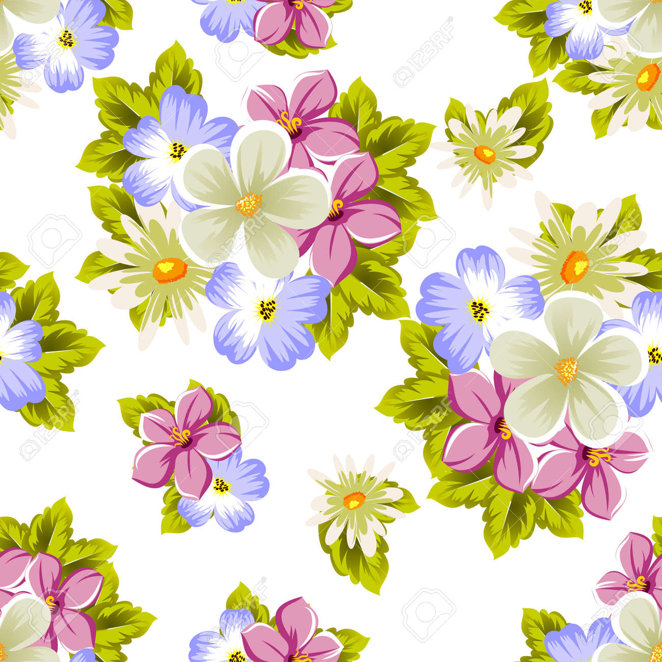 Floral Seamless Pattern Of Several Flowers For Design Of Cards