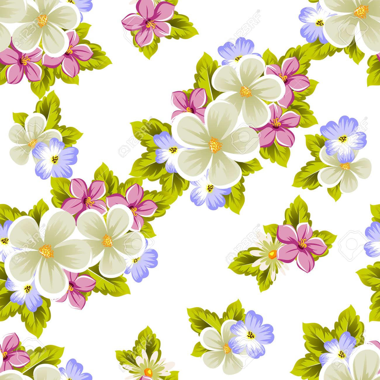 Patrón Floral Sin Fisuras De Varias Flores Para El Diseño De Tarjetas Invitaciones Felicitaciones De Cumpleaños Bodas Fiestas Fiestas