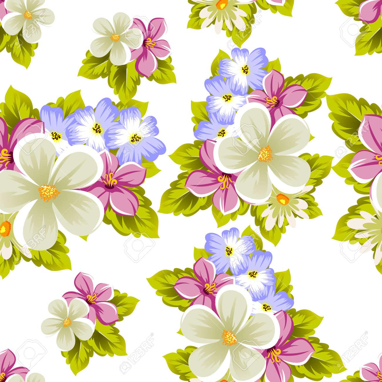 Patrón Floral Sin Fisuras De Varias Flores Para El Diseño De Tarjetas Invitaciones Saludo De Cumpleaños Boda Fiesta Vacaciones Celebración Día