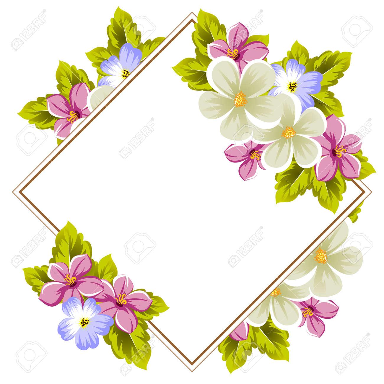 Marco Floral De Varias Flores Y Hojas Para El Diseño De Tarjetas Invitaciones Carteles Pancartas Saludo De Cumpleaños Día De San Valentín Boda