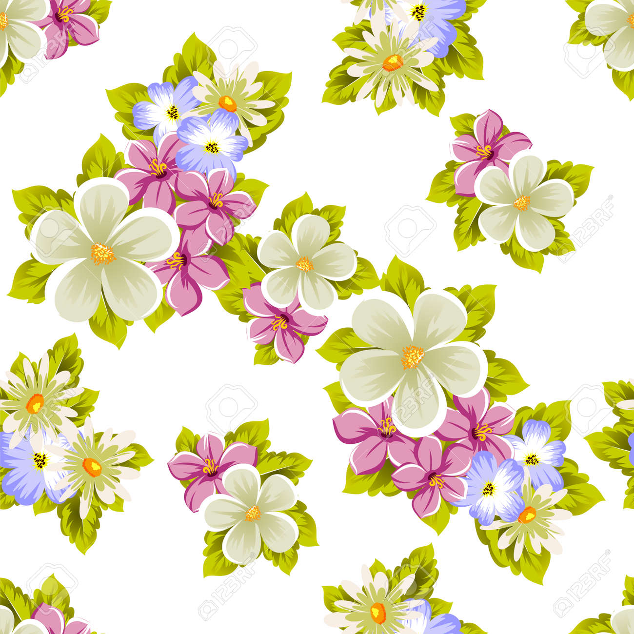 Seamless Pattern Of Flowers For Design Textures Postcards Greeting Cards Birthday