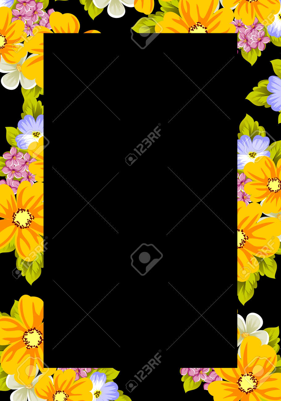 Frame Of Flowers For Design Postcards Cards Invitations Greeting