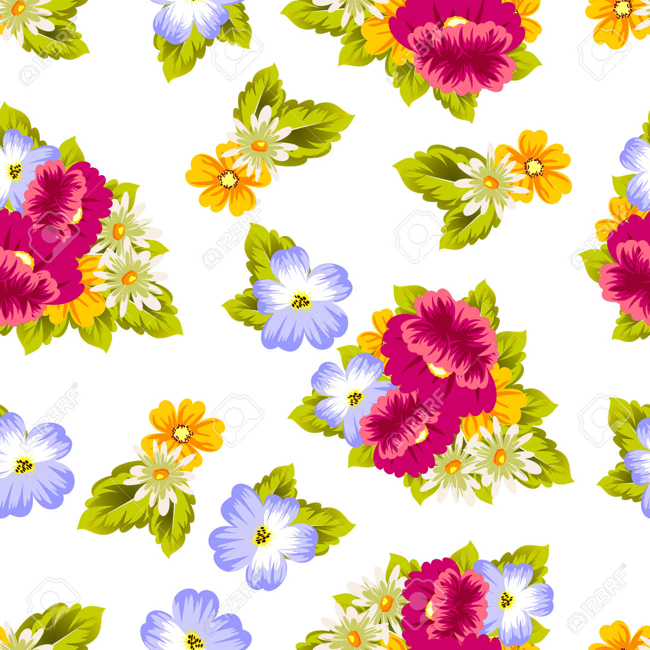 Abstract Seamless Pattern Of Flowers For Card Designs Greeting