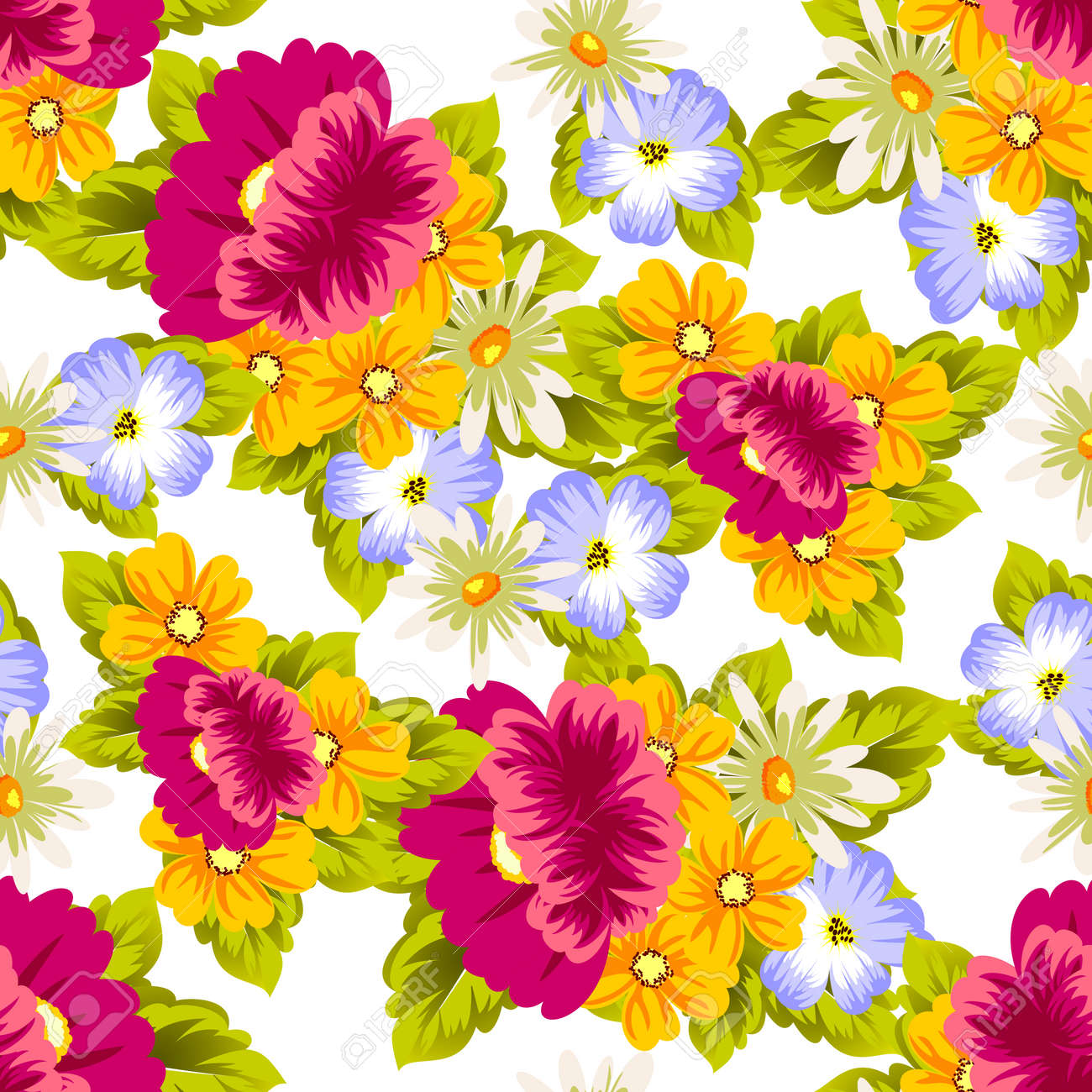 Abstract Seamless Pattern Of Colorful Flowers Vector Illustration