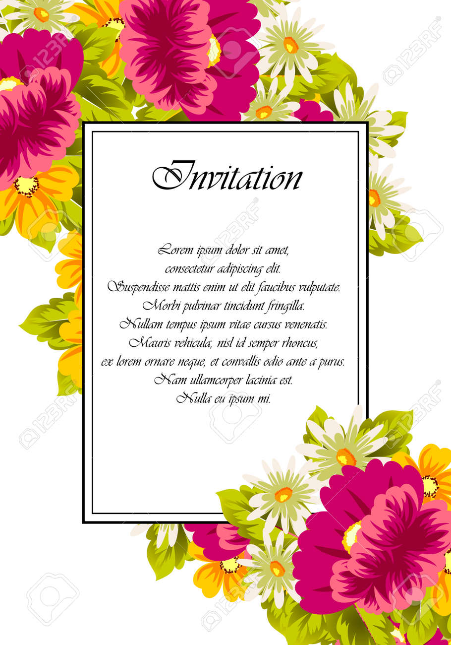 Frame of flowers for card designs, greeting cards, birthday invitations,