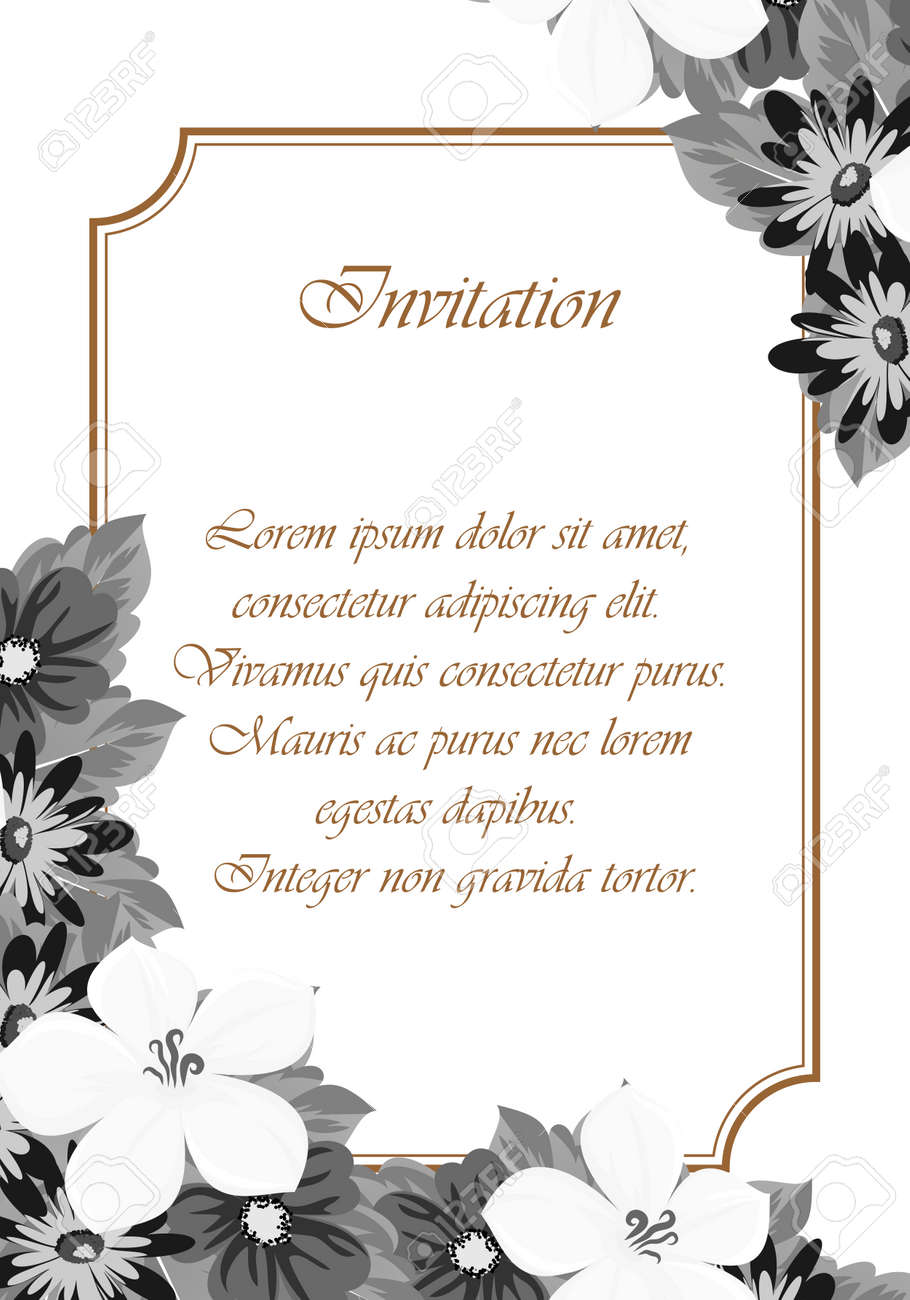 frame monochrome of flowers for card designs greeting cards