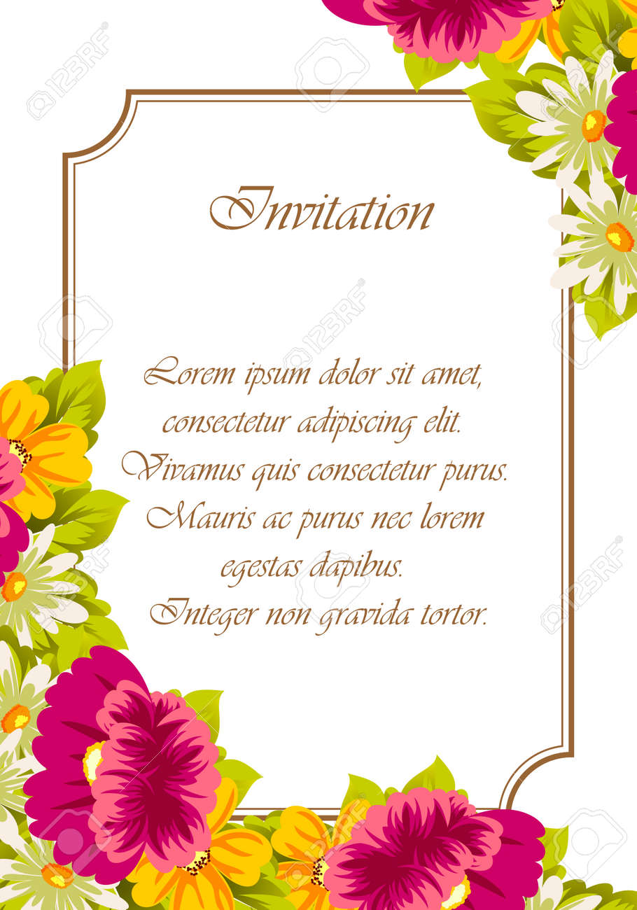 Frame Of Flowers For Card Designs Greeting Cards Birthday Invitations