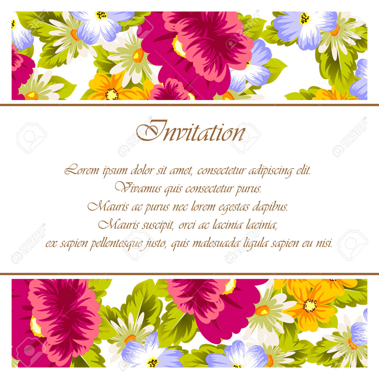 Frame Of Flowers. For Card Designs, Greeting Cards, Birthday ...