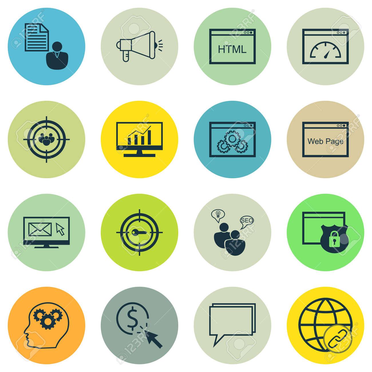 633032979a Archivio Fotografico - Set di SEO, di marketing e pubblicità icone sul  utilizzare parole chiave, ottimizzazione sito web, Consulenza online e  altro ancora.