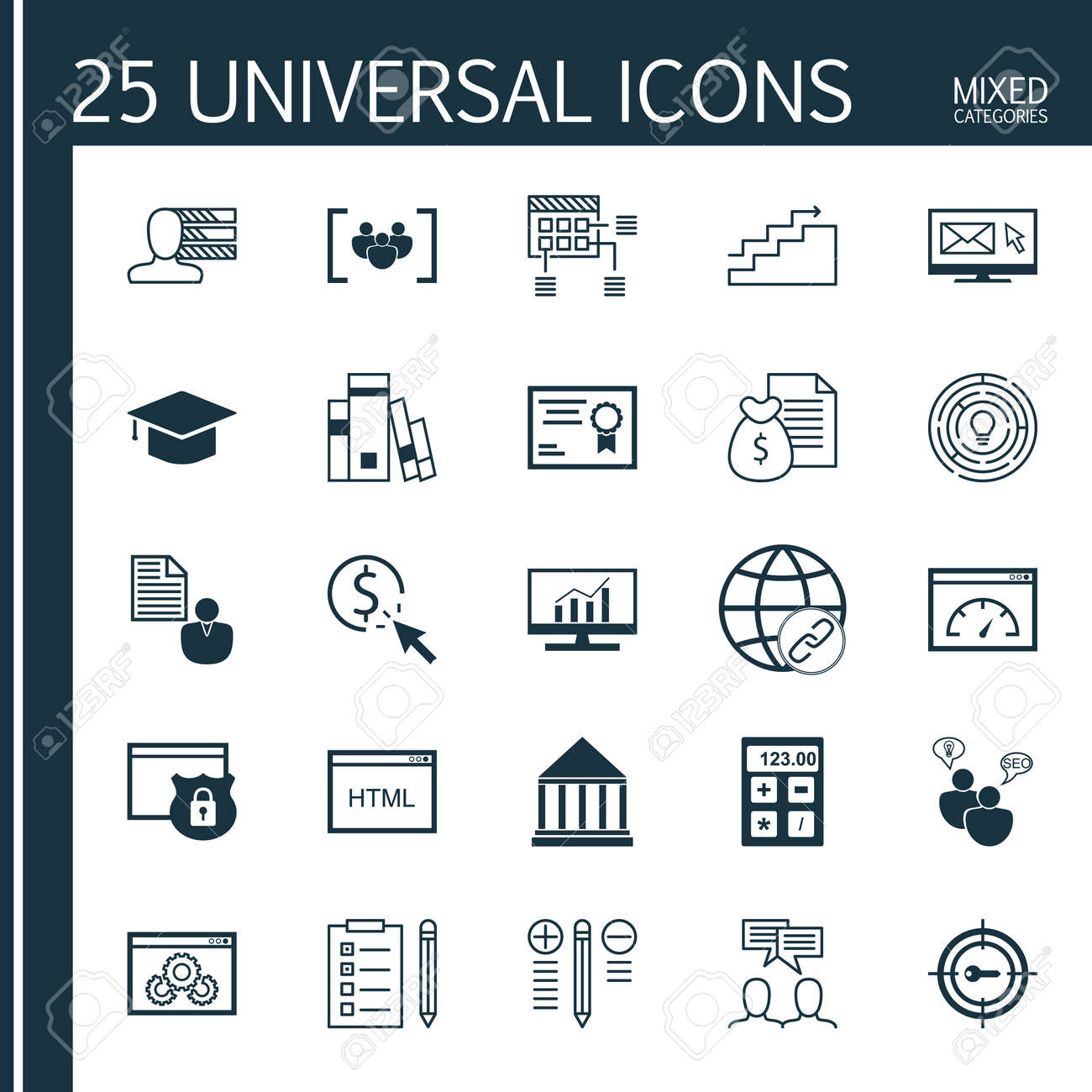 Universal Icons Set of Mixed Categories  Contains Icons on Topics