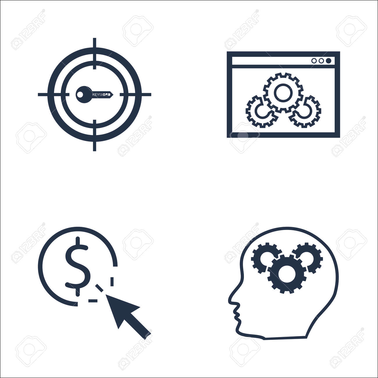 Set Of SEO, Marketing And Advertising Icons On Website Optimization,