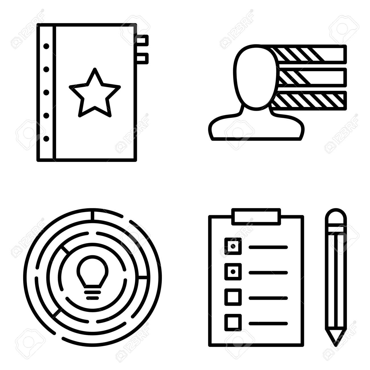 Set Of Project Management Icons On Personality, Creativity And