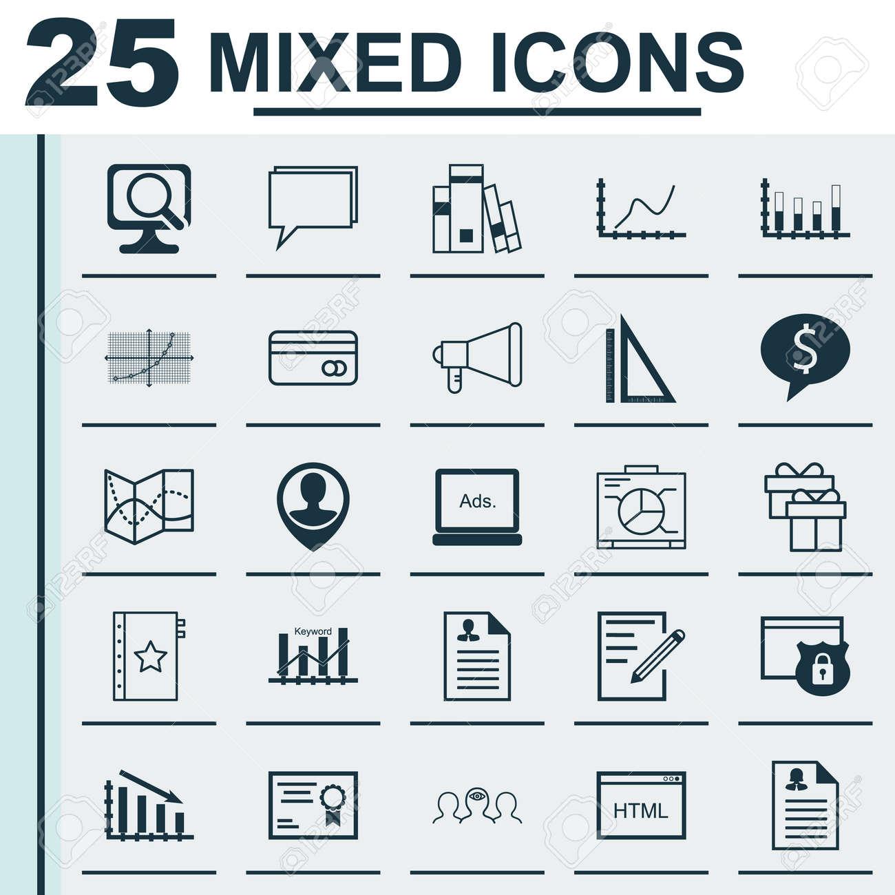 Conjunto De 25 Iconos Universales Sobre La Codificación, Curriculum ...