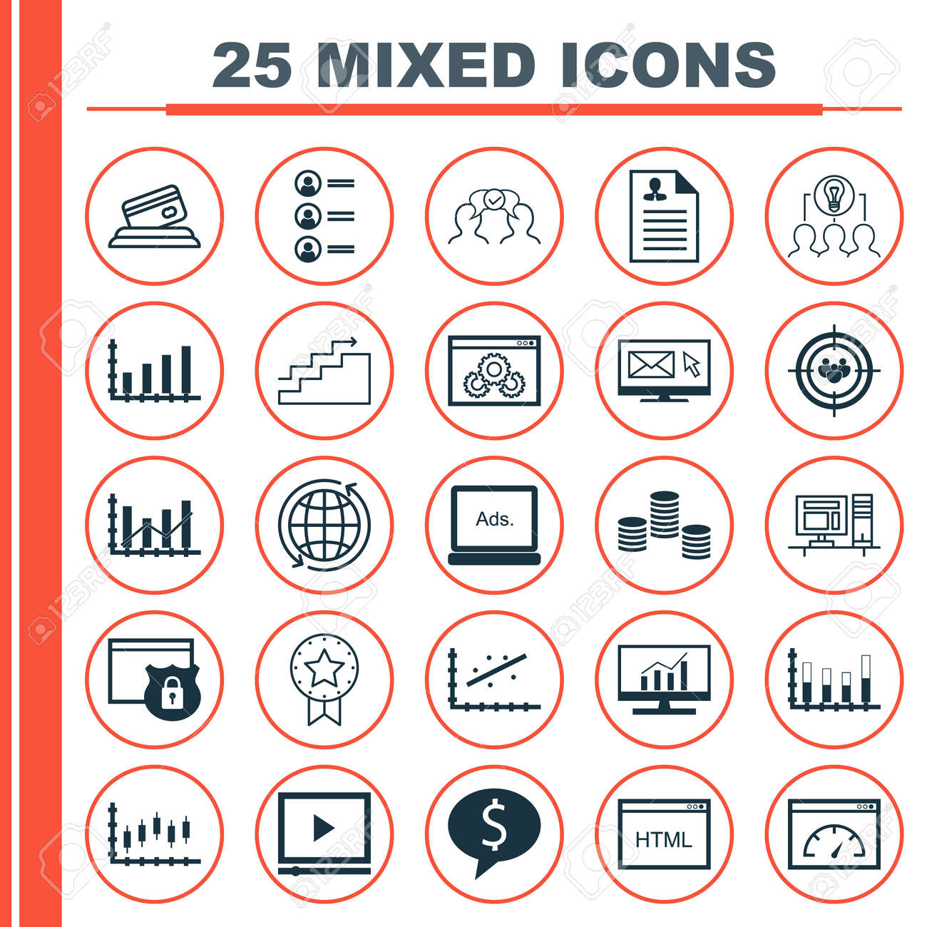 set of 25 universal icons on around the world, growth, cooperation and more  topics