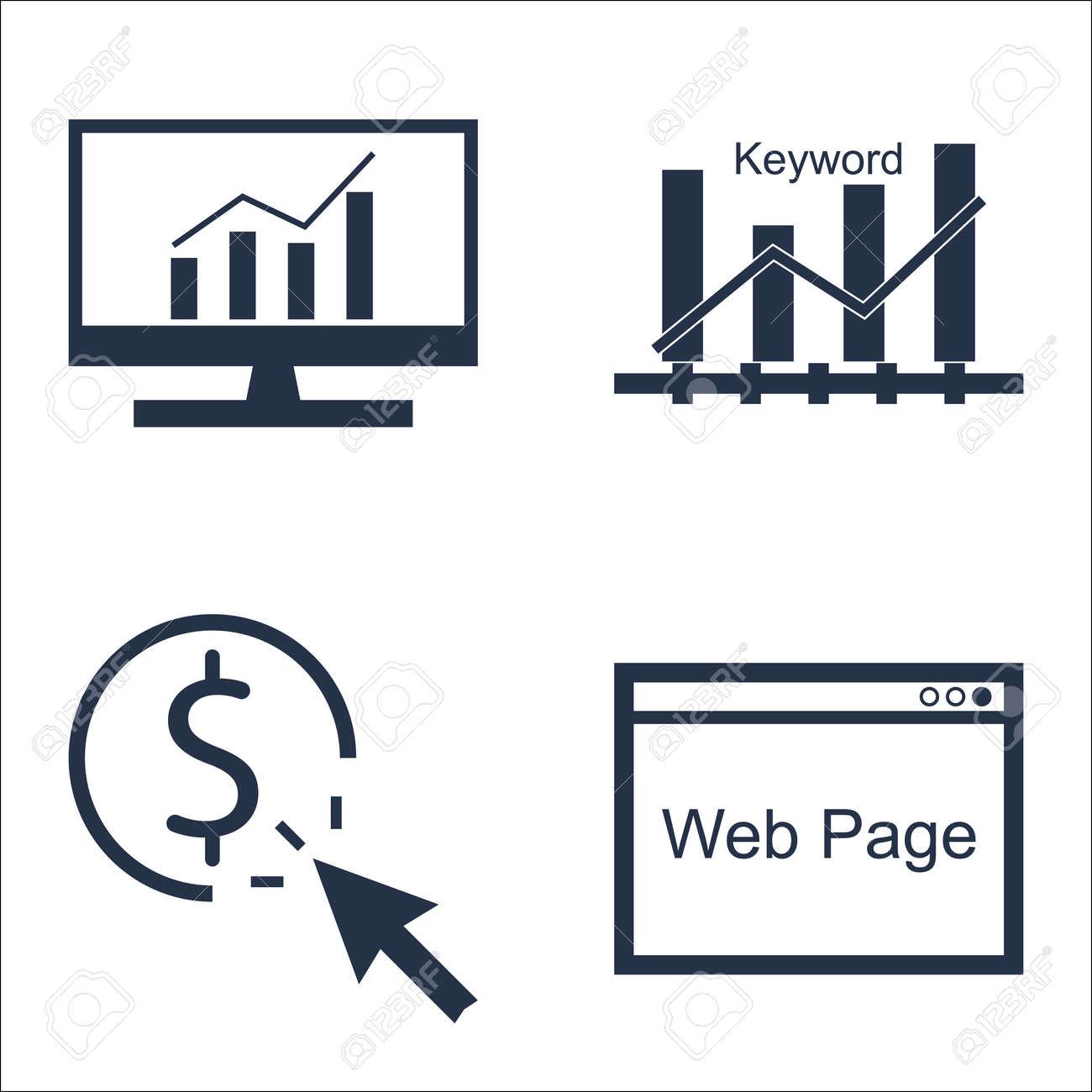 228810bc28 Archivio Fotografico - Set di SEO, di marketing e pubblicità Icone per  parola chiave classifica, pay per click, complete Analytics And More.