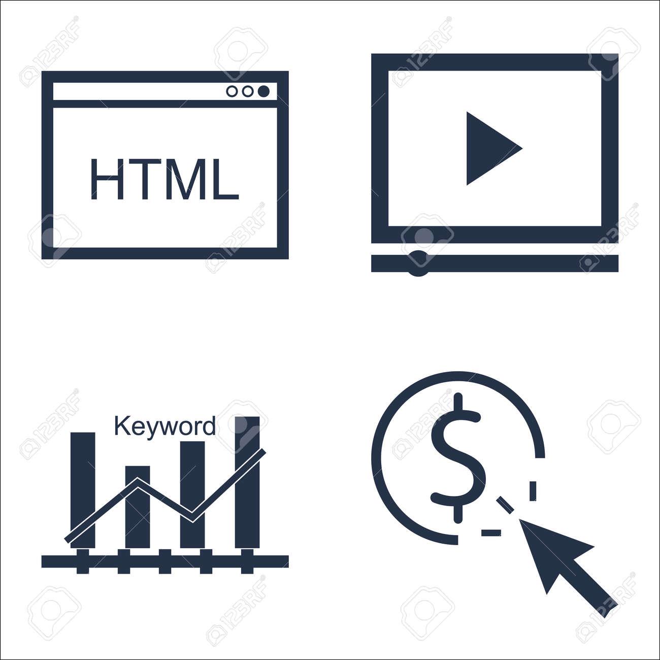 cd168716ac Archivio Fotografico - Set di icone SEO, marketing e pubblicità sulla  pubblicità video, codice html, pay per click e altro ancora.