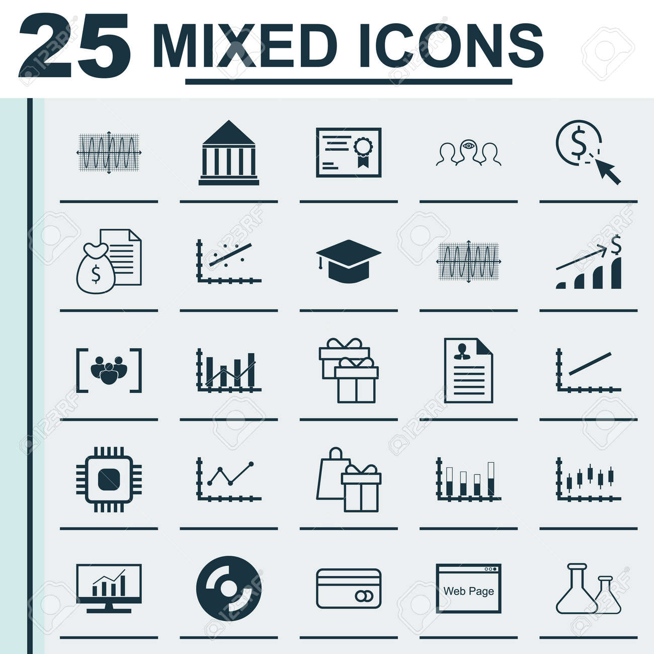 Conjunto De 25 Iconos Universales On Line Arriba, Curriculum Vitae ...