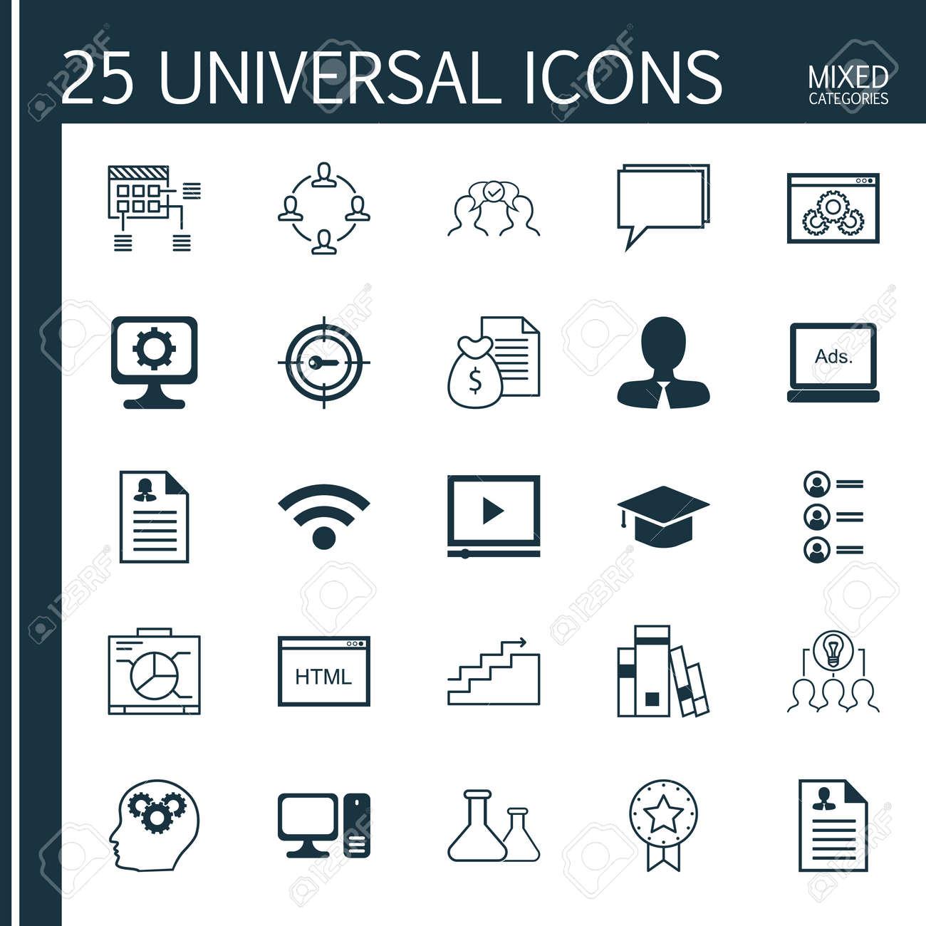 Conjunto De 25 Iconos Universales Sobre Crecimiento, Tablero ...