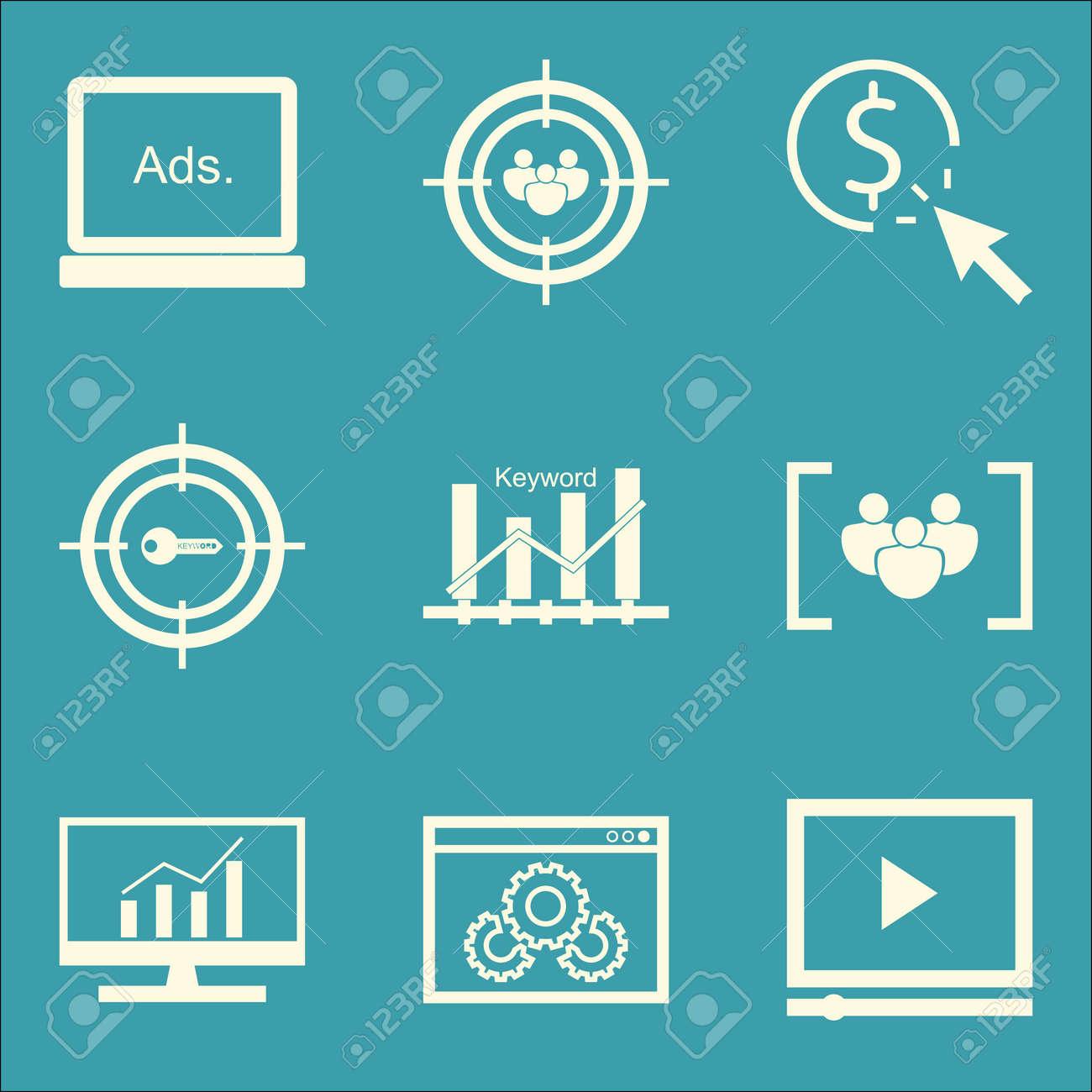 39c580dabe Archivio Fotografico - Set di icone SEO, marketing e pubblicità sul  posizionamento di parole chiave, pubblicità display, pubblicità video e  altro ancora.