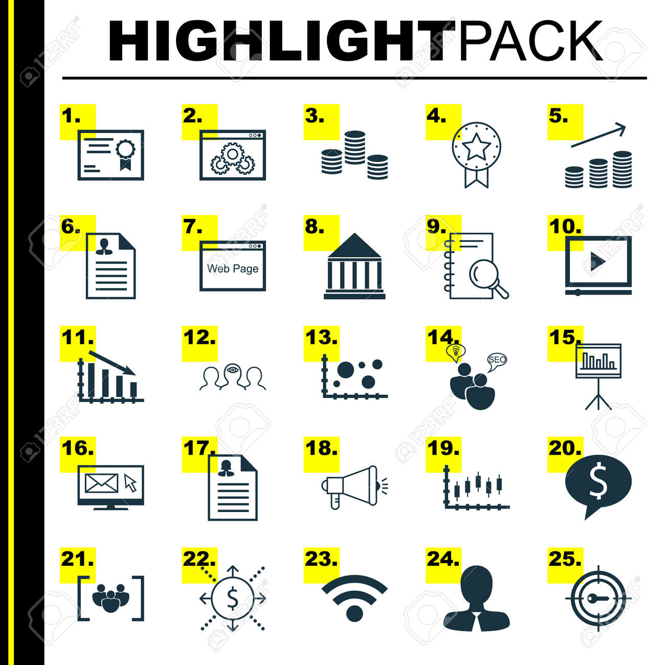 Set Of 25 Universal Icons On Fail Graph, Manager, Analysis And More ...