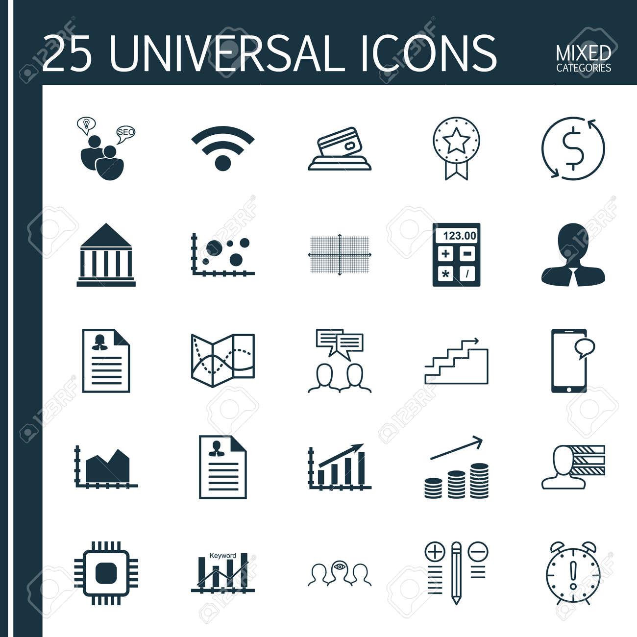Conjunto De 25 Iconos Universales Inalámbricos, Monedas Crecimiento ...