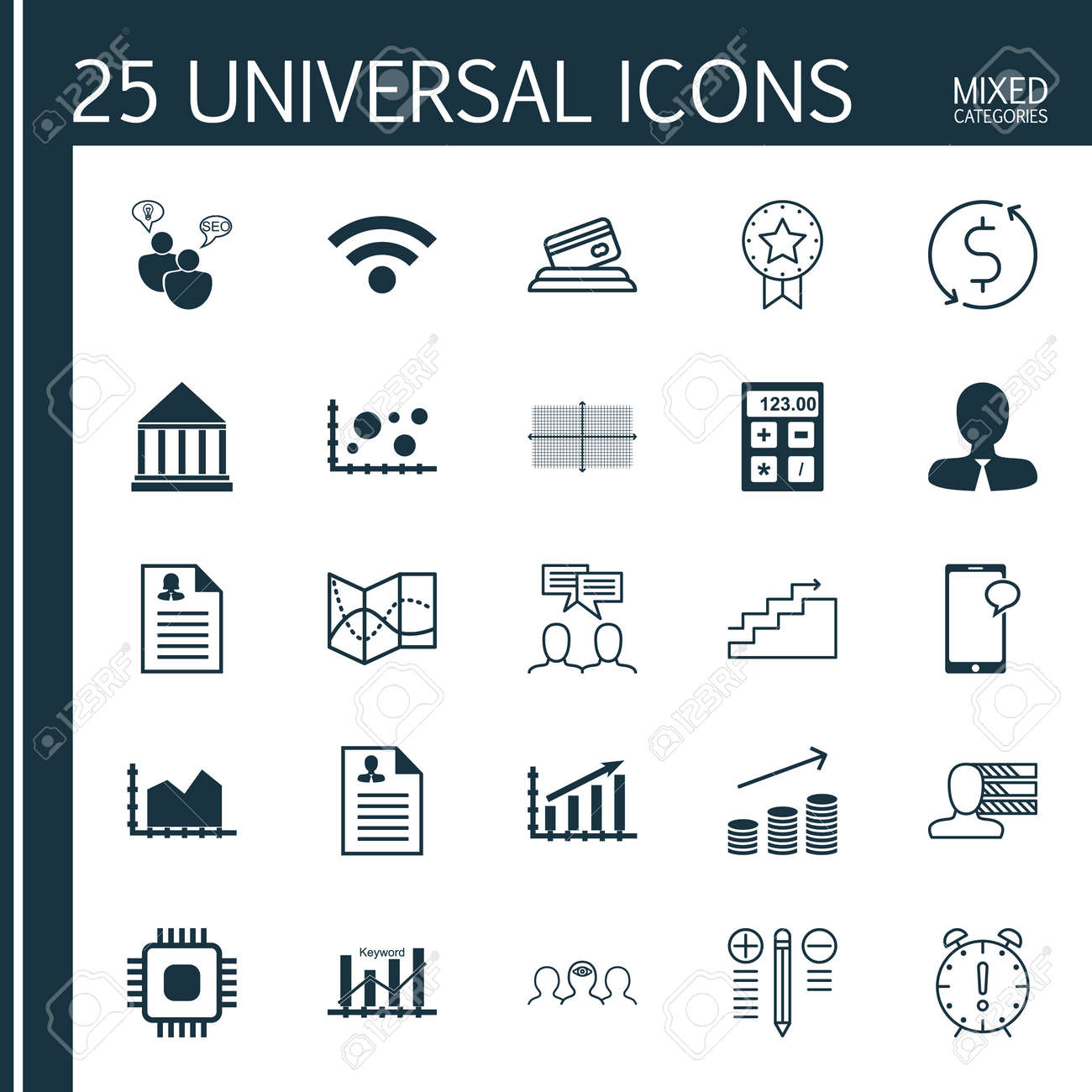 Set Of 25 Universal Icons On Wireless, Coins Growth, Curriculum ...