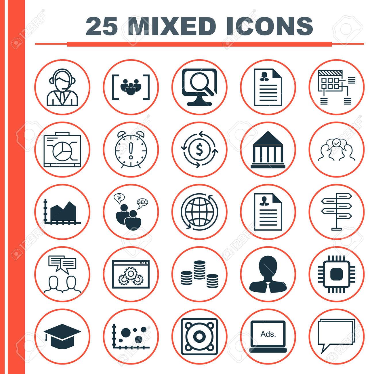 Conjunto De 25 Iconos Universales En El Centro De Educacion