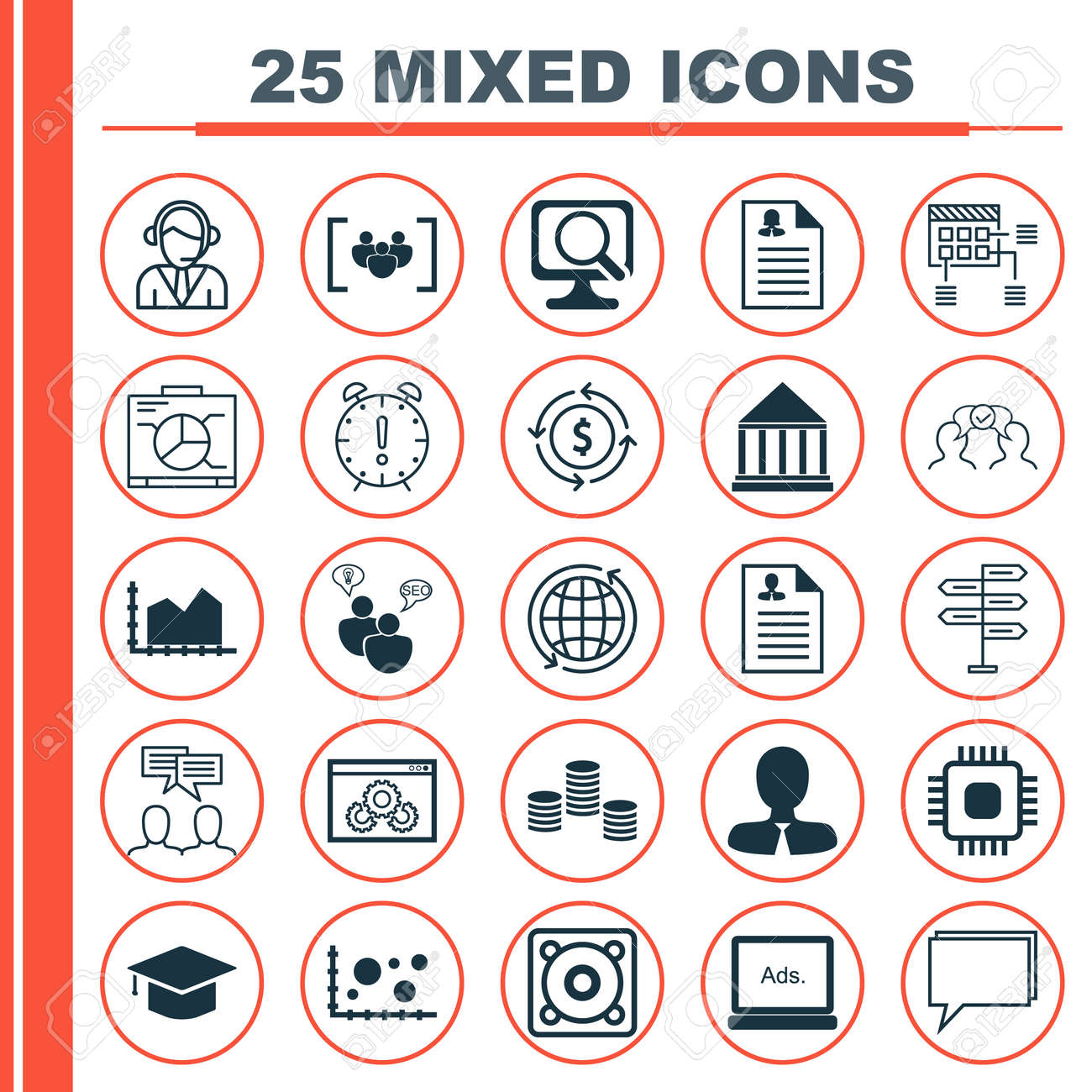 Set Of 25 Universal Icons On Education Center Curriculum Vitae