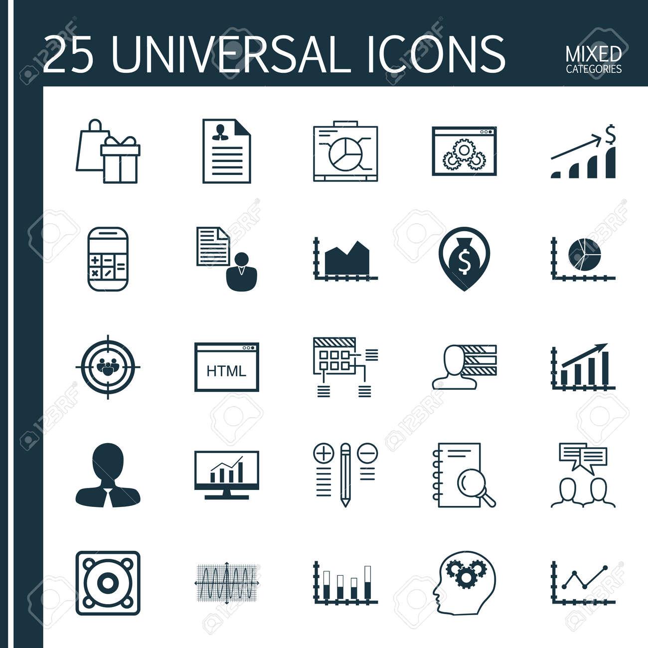 Conjunto De 25 Iconos Universales En La Secuencia De Gráficos ...