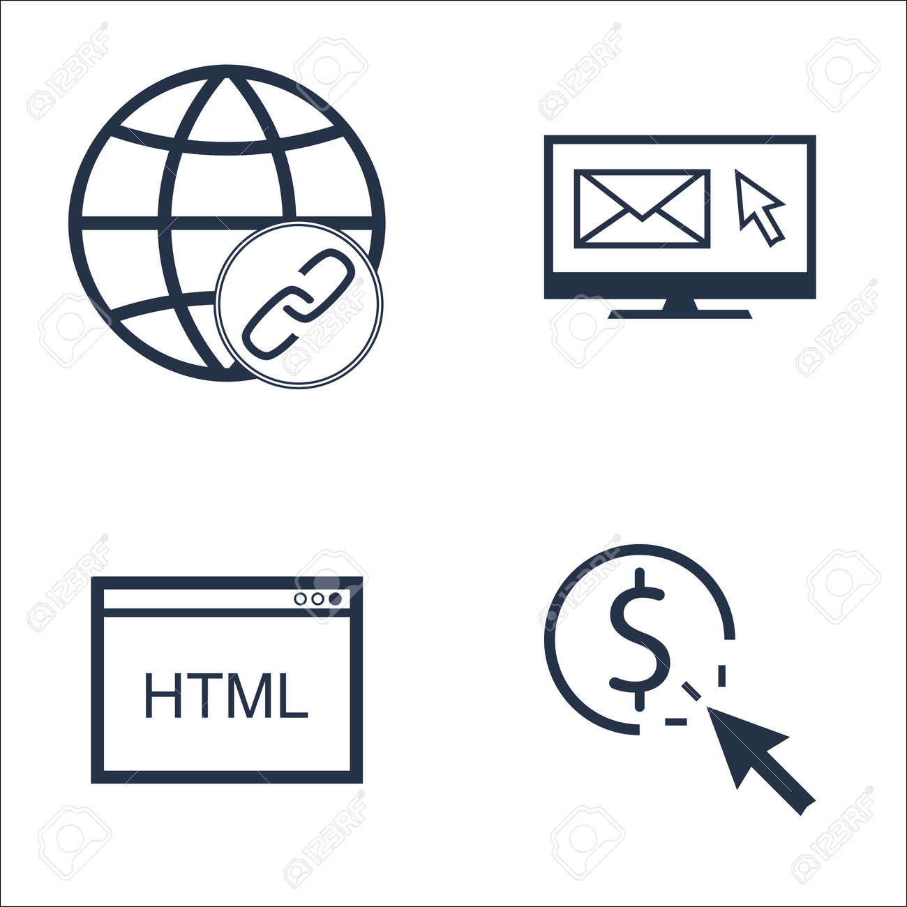 Set Of Seo Marketing And Advertising Icons On Html Code Link