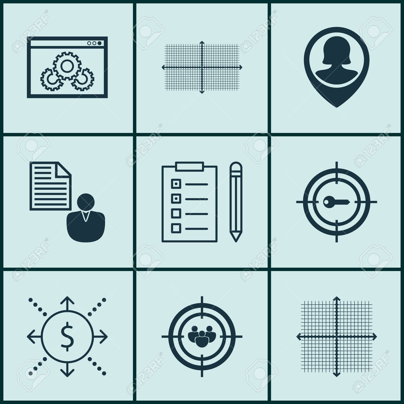 Set Of 9 Universal Editable Icons For Project Management, Statistics