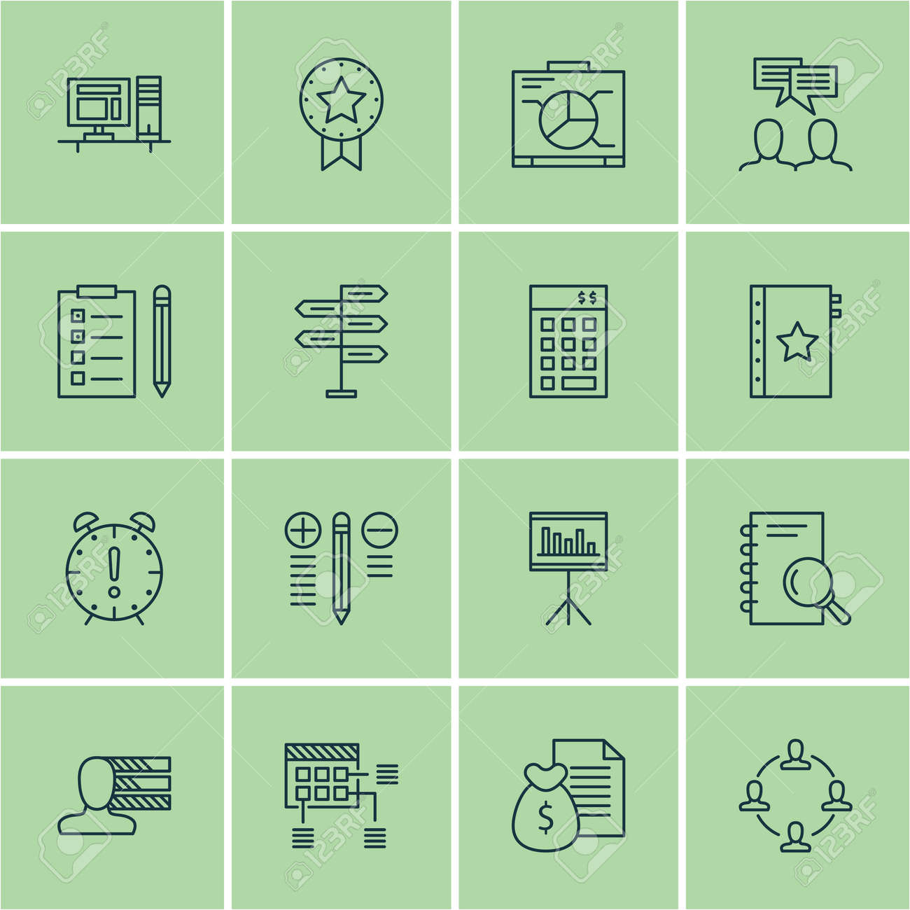 Set Of Project Management Icons On Time Management, Presentation