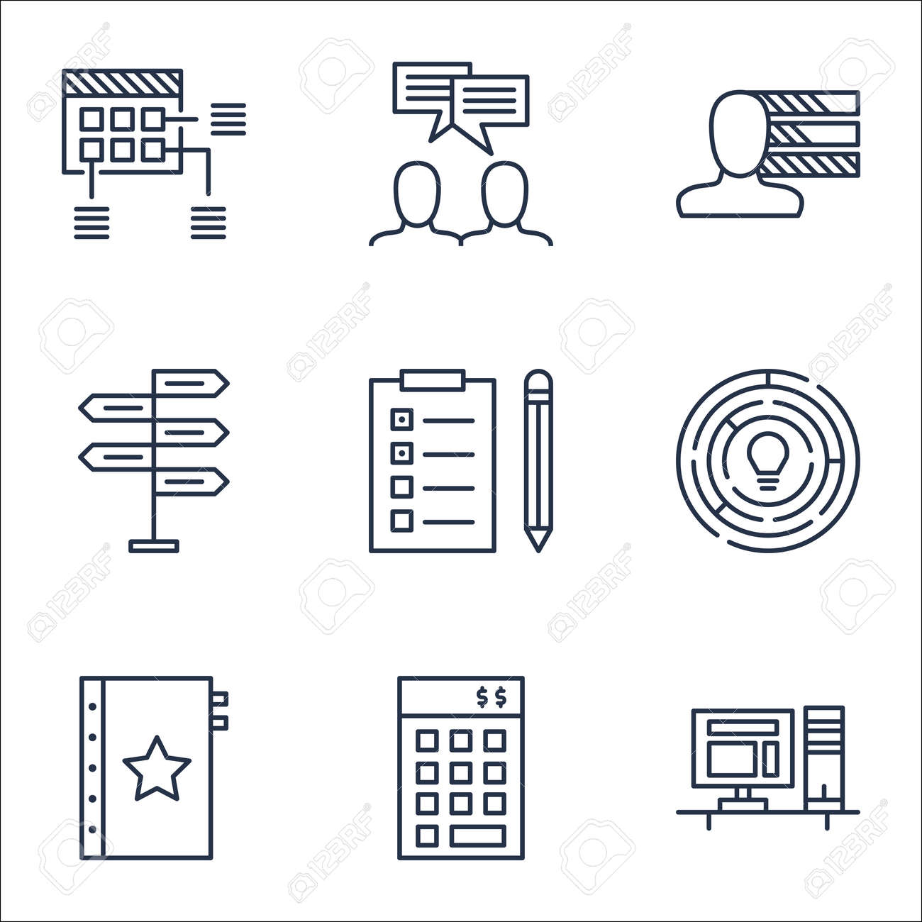 set of project management icons on schedule personal skills set of project management icons on schedule personal skills and innovation topics editable vector