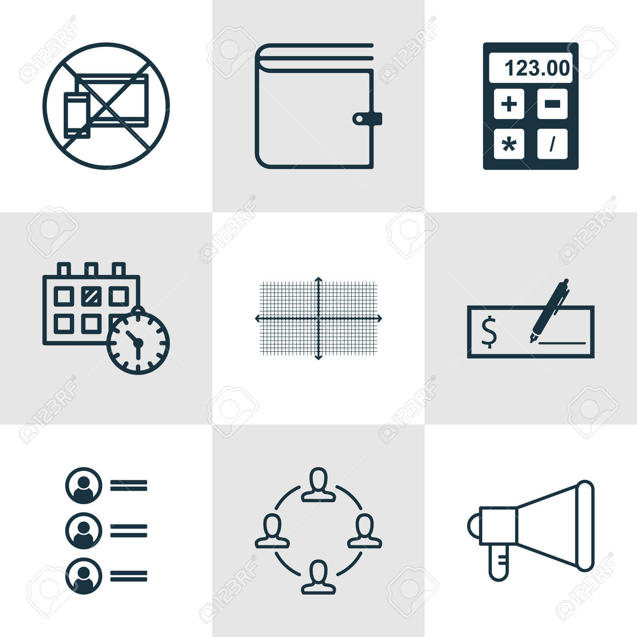 Set Of 9 Universal Editable Icons  Can Be Used For Web, Mobile
