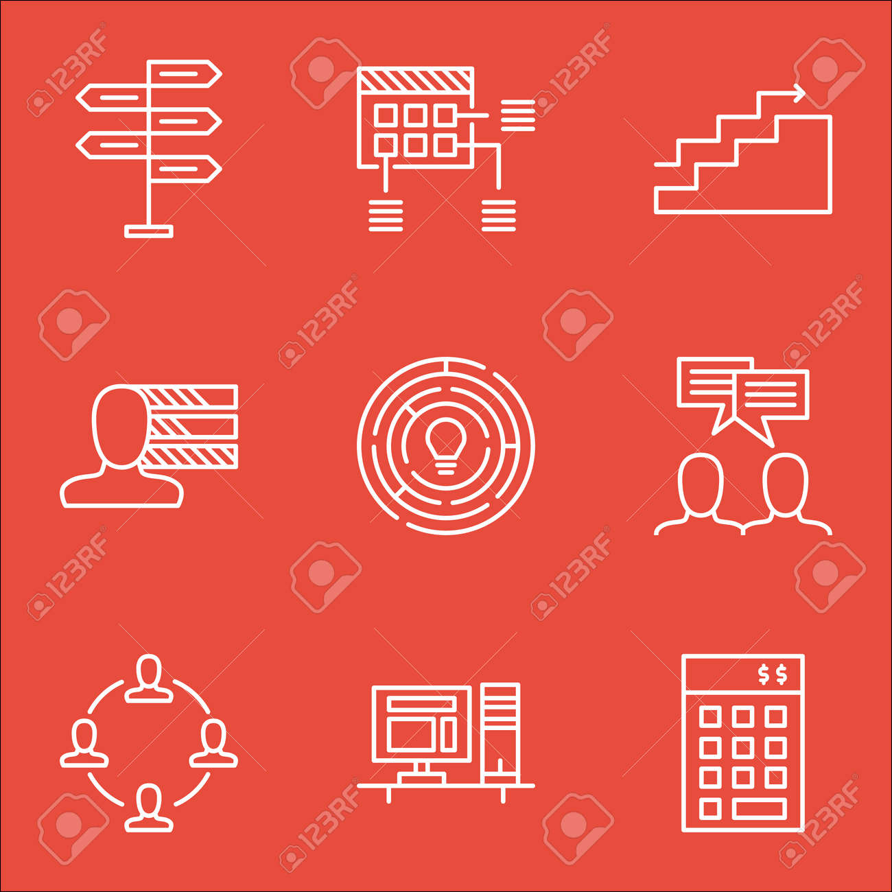 set of project management icons on personal skills discussion set of project management icons on personal skills discussion and innovation topics editable vector