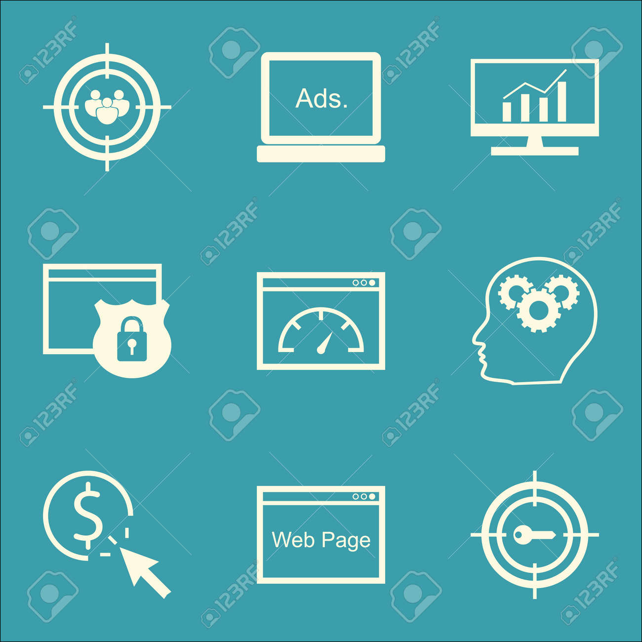 Set Of Marketing Icons On Digital Media, Loading Speed And Security