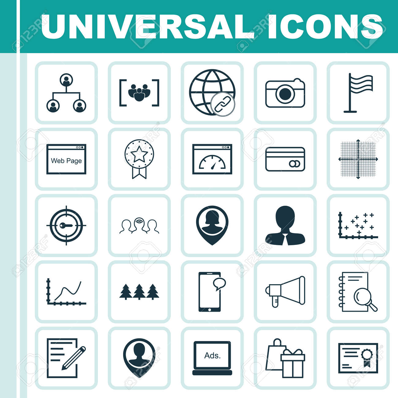 Set of 25 universal editable icons can be used for web mobile can be used for web mobile and app ccuart Image collections
