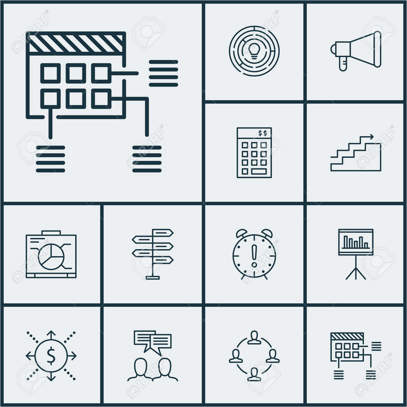 Set Of Project Management Icons On Discussion, Collaboration