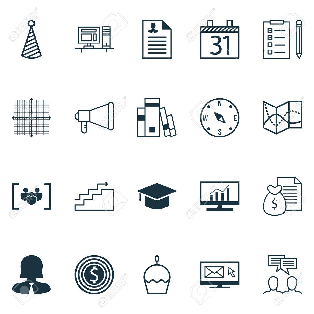 Conjunto De 20 Iconos Editables Universal Se Puede Usar Para Diseno