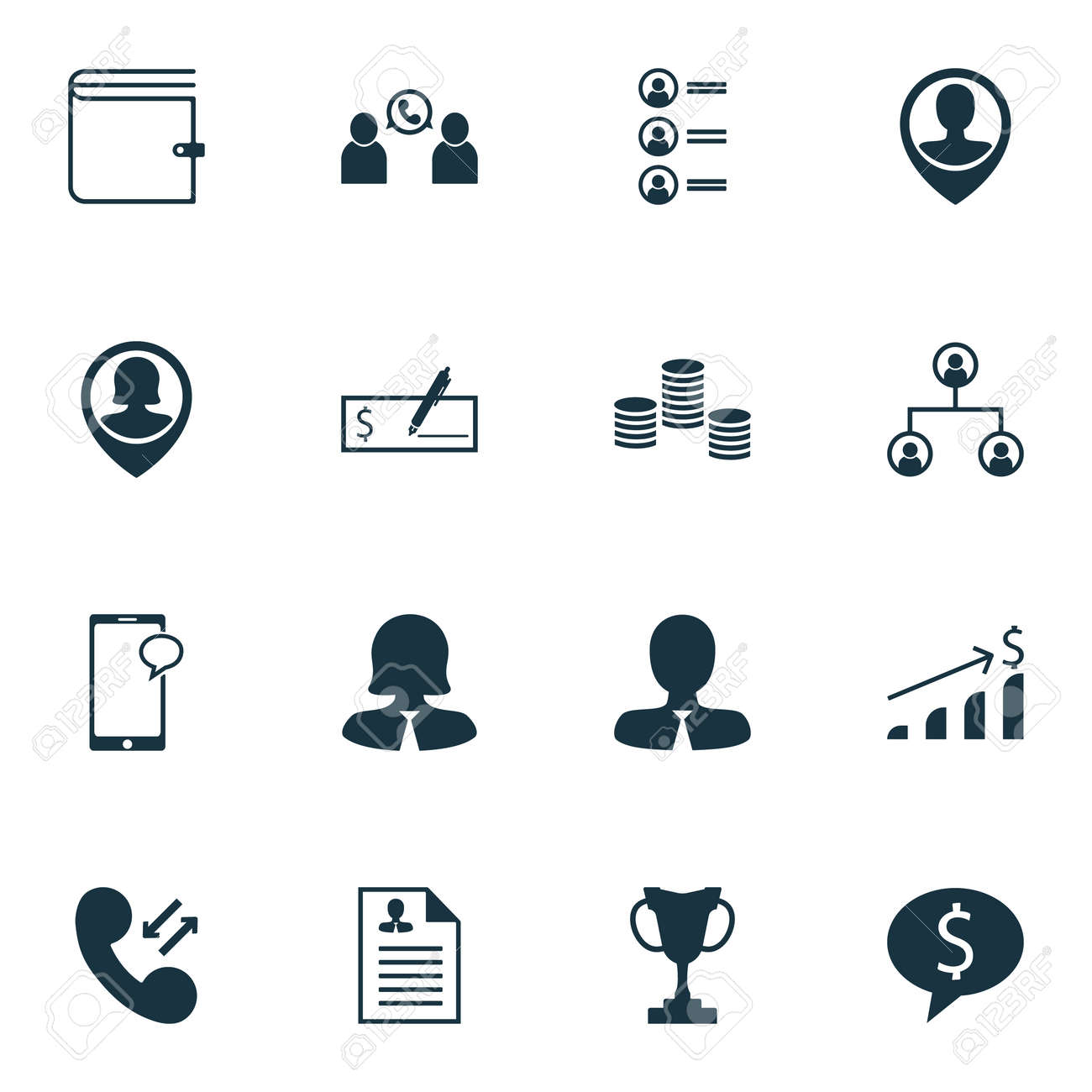 Set Of Hr Icons On Money Tree Structure And Curriculum Vitae