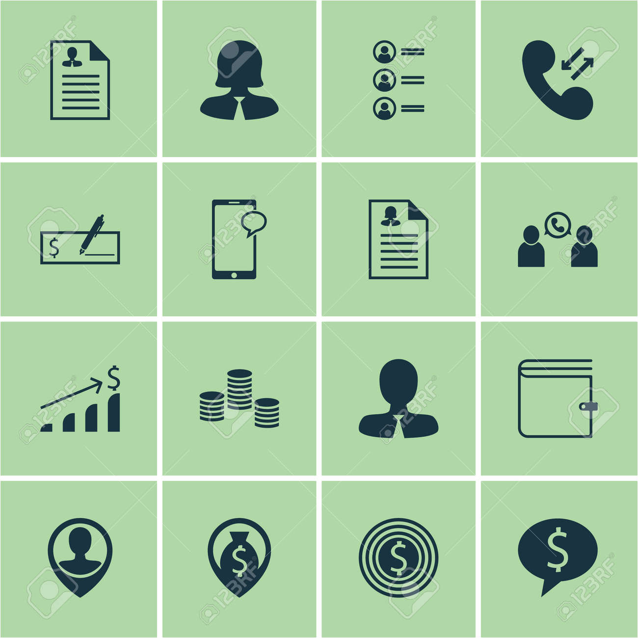 Set Of Human Resources Icons On Curriculum Vitae Female Application
