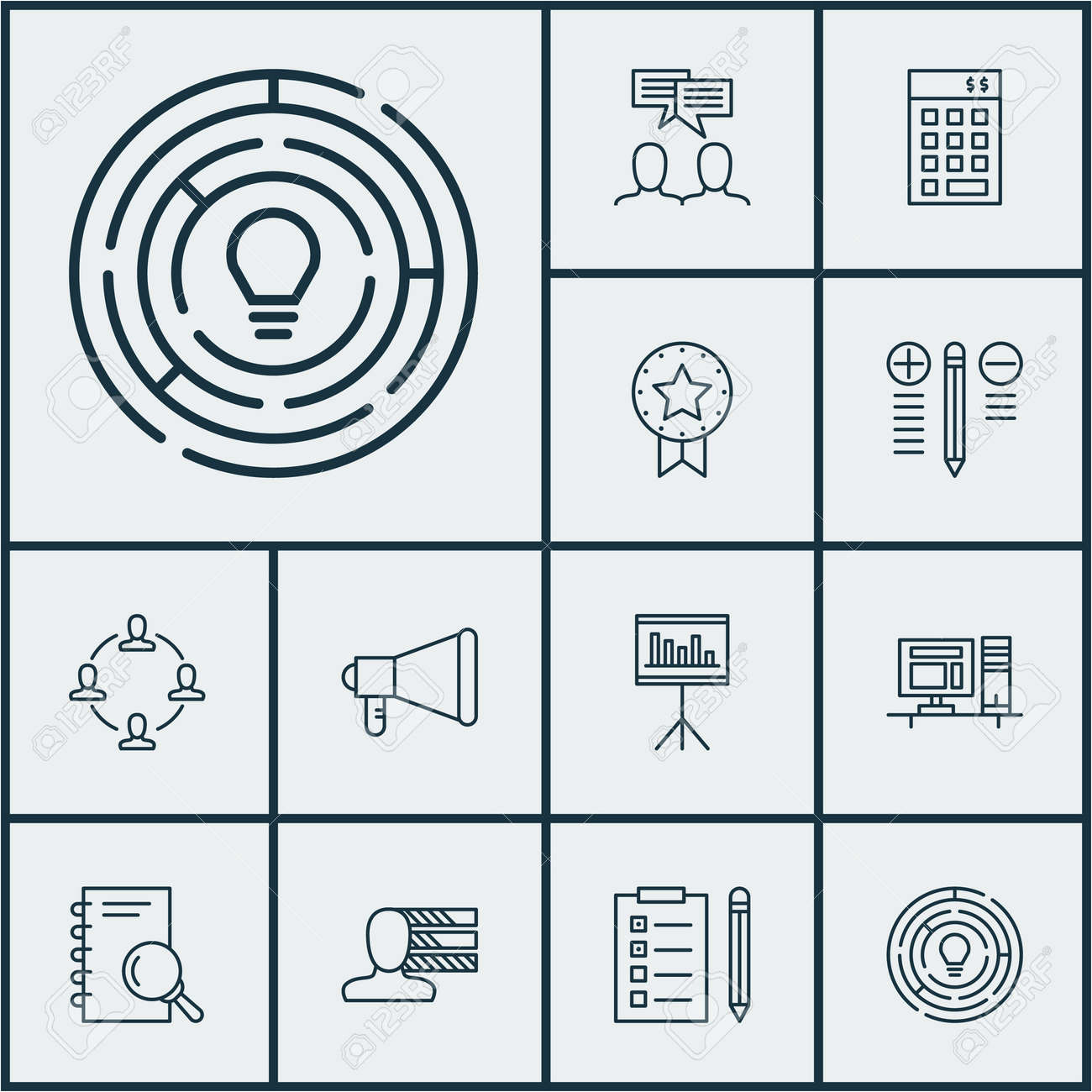Set Of Project Management Icons On Presentation, Computer And