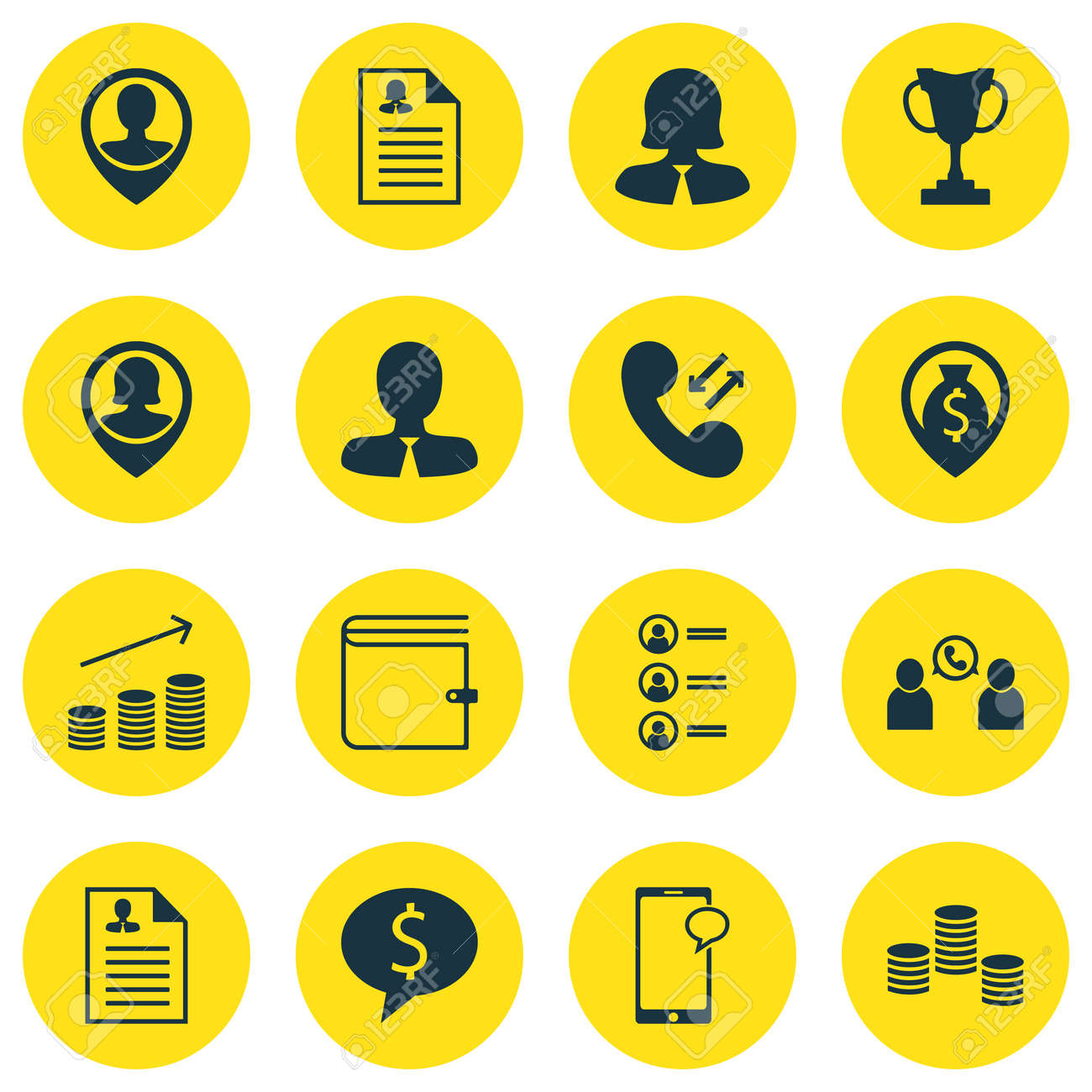Set Of Management Icons On Job Applicants, Female Application And ...