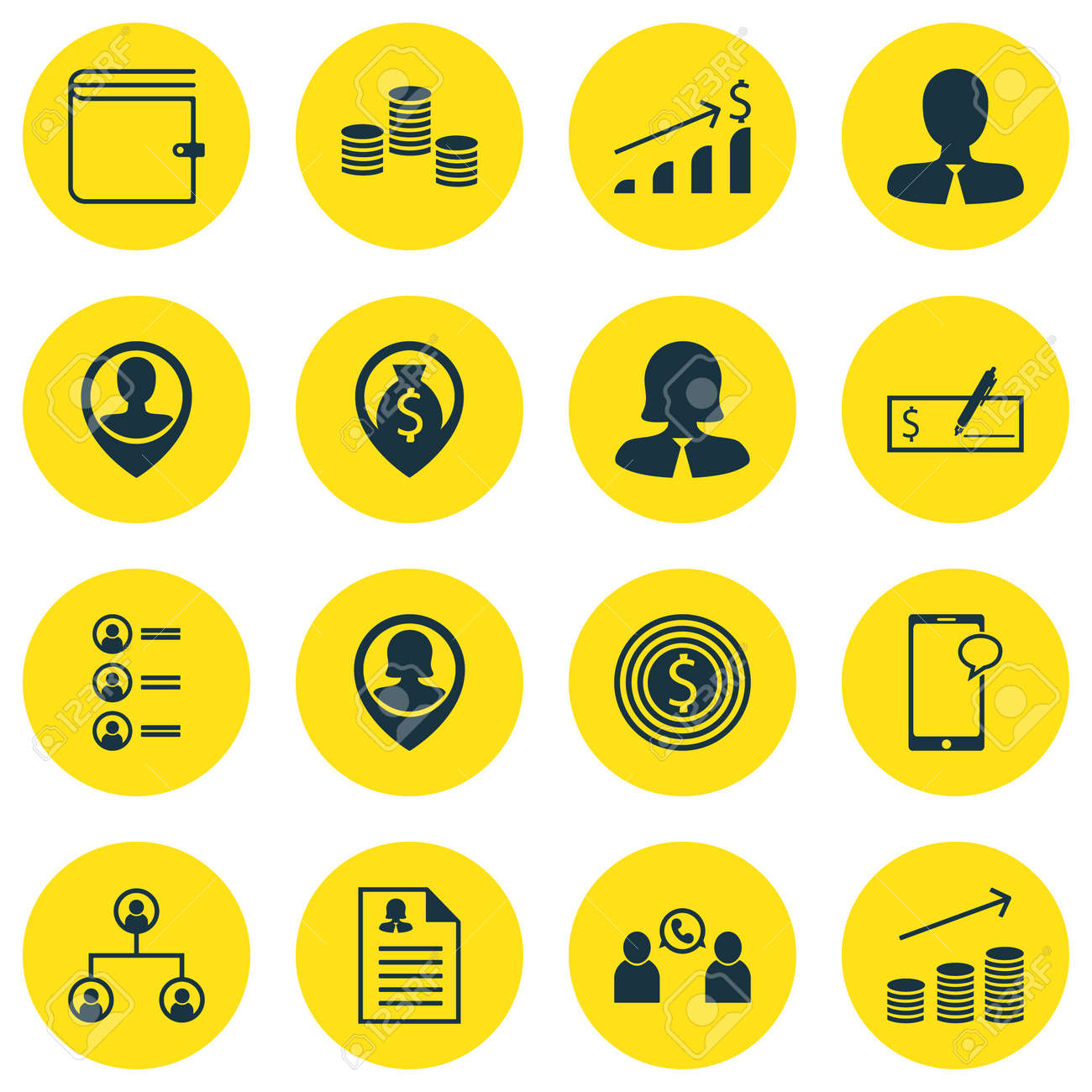 Set Of Human Resources Icons On Job Applicants, Female Application ...