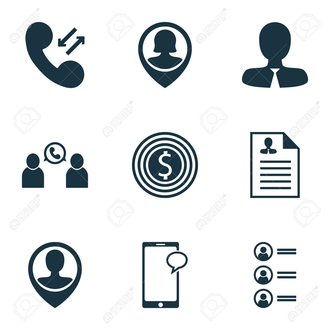 Set Of Human Resources Icons On Employee Location Curriculum