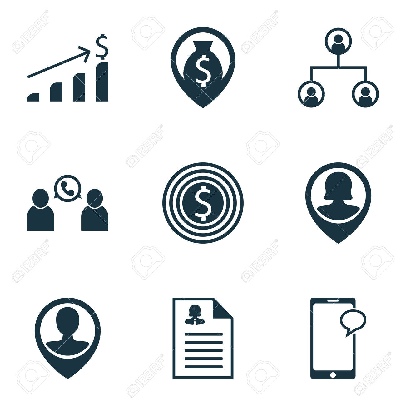 Set Of Human Resources Icons On Female Application, Tree Structure