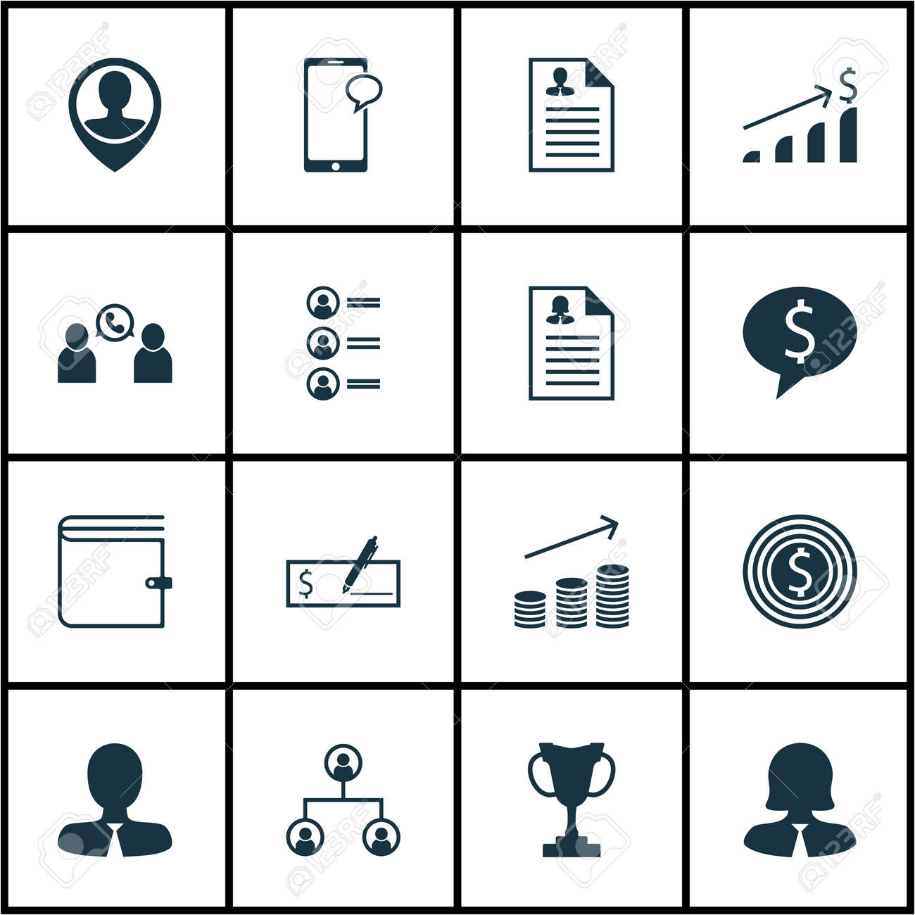 Set Of Human Resources Icons On Employee Location, Curriculum ...