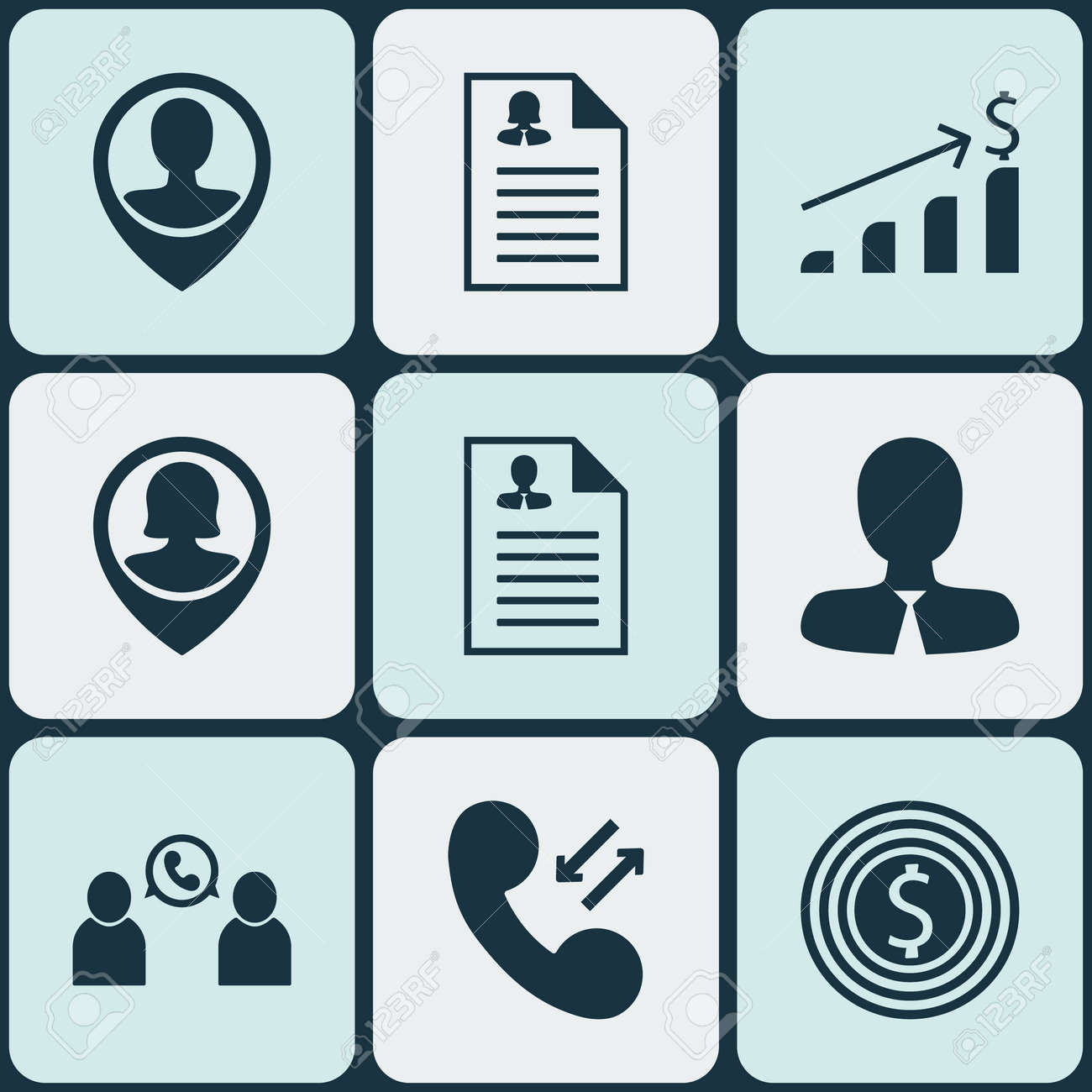 Set Of 9 Human Resources Icons. Can Be Used For Web, Mobile, UI And ...