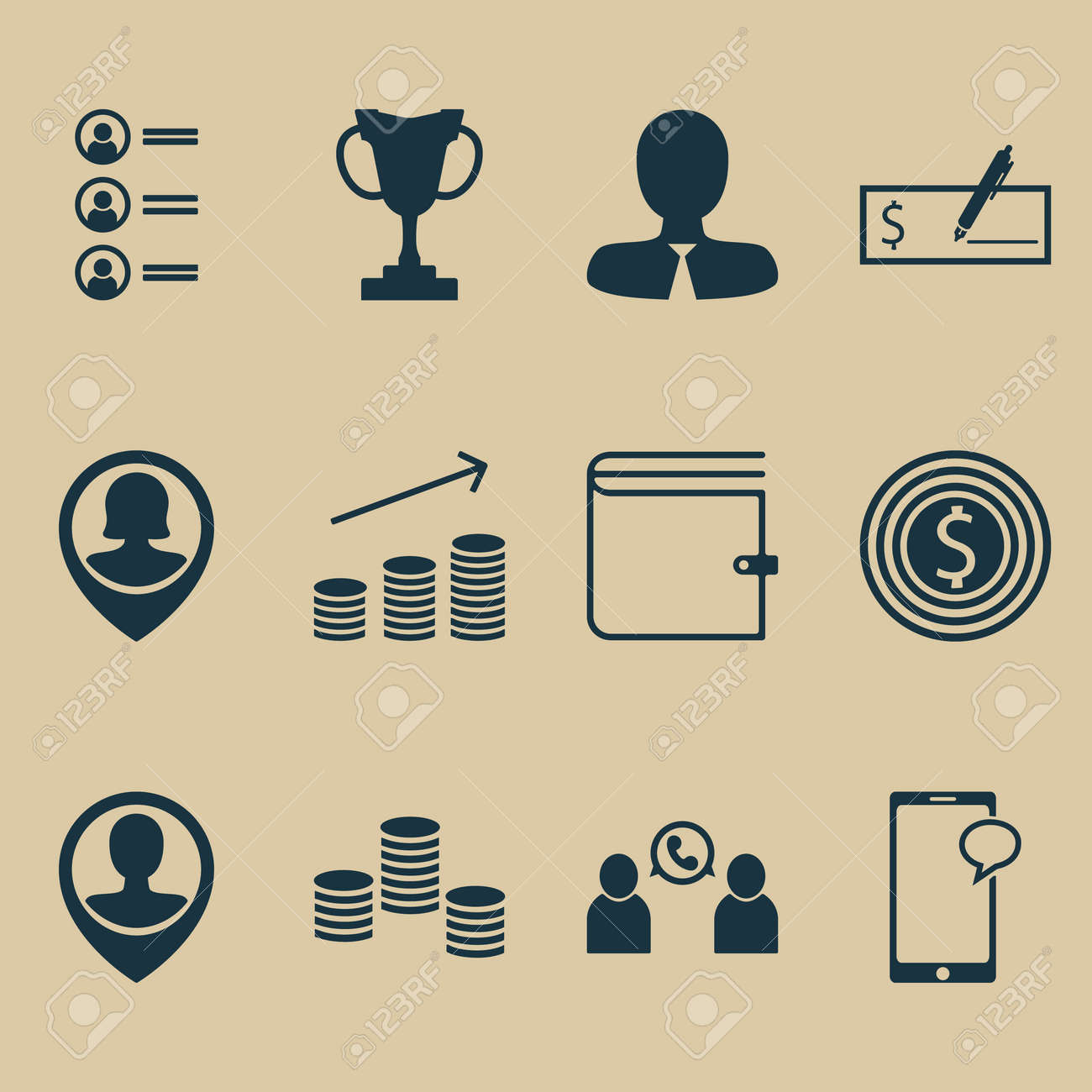 Set Of 12 Human Resources Icons. Can Be Used For Web, Mobile, UI And ...