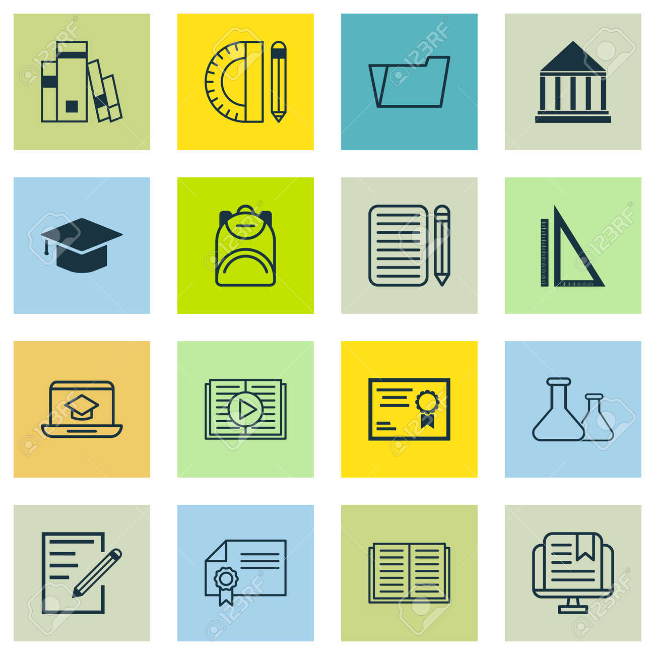 Set of 16 school icons includes certificate distance learning includes certificate distance learning measurement and other symbols buycottarizona
